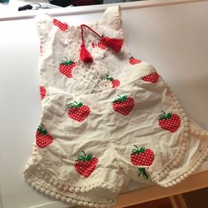 Other - Strawberry Romper with lace detail and tassels
